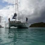 Notre catamaran vu de la plage de Mayreau