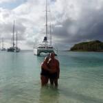 Sylvie et Jean sur la plage de Mayreau