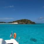 LAa vue arrière de de notre emplacement dans les Tobago Cays