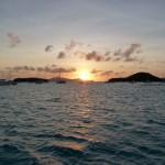 Coucher de soleil dans les Tobago Cays