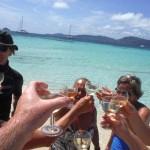 Dégustation de champagne sur l'île de Morpion